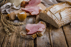 Smoked meat on homemade bread Stock Photos