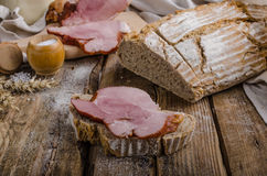 Smoked meat on homemade bread Royalty Free Stock Photo