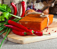 Smoked meat with pepper Royalty Free Stock Photo