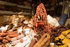 Smoked meat products at market or butcher shop Stock Image