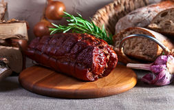 Smoked meat with rosemary Royalty Free Stock Photos
