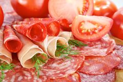 Smoked meat and salami Royalty Free Stock Photography