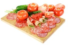 Smoked meat and salami Royalty Free Stock Photos