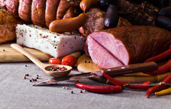 Smoked meat and sausages Stock Image