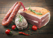 Smoked meat and sausages Royalty Free Stock Photography