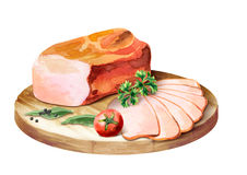 Smoked meat with spices on the platter. Watercolor Stock Photo