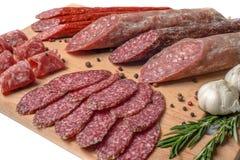 Smoked meat on wood isolated white background Royalty Free Stock Image