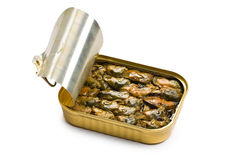 Smoked mussels in opened tin can Royalty Free Stock Photography