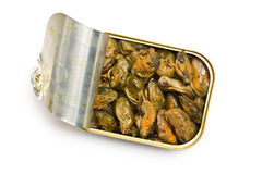 Smoked mussels in opened tin can Royalty Free Stock Photo