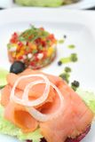 Smoked norwegian salmon. With olive oil Royalty Free Stock Photos