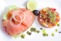 Smoked norwegian salmon. With olive oil Royalty Free Stock Photography