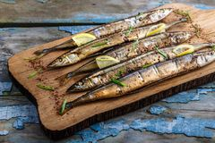 Smoked oceanic saury on wooden cutting board, top view, copy space stock images