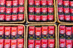 Smoked paprika cans for sell, Caceres, Spain Royalty Free Stock Photography