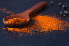 Smoked paprika on spoon and black pepper Stock Photo