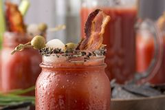 Smoked Pepper Bacon Bloody Mary Royalty Free Stock Photo