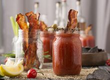 Smoked Pepper Bacon Bloody Mary Stock Photos