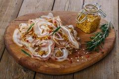 Smoked pig ears sliced Stock Photography