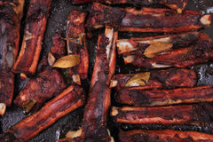 Smoked pig ribs background Stock Photography