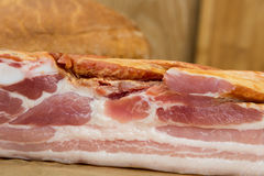 Smoked pork belly - bacon, and bread Royalty Free Stock Image