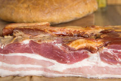 Smoked pork belly - bacon, and bread Royalty Free Stock Photos