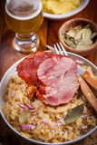 Smoked pork with cabbage Stock Photo