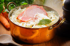 Smoked Pork Chop On Shredded Cabbage With Raisins Royalty Free Stock Image