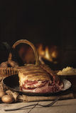 Smoked pork chop with Sourcrout and Potatoes on wooden Table befo Royalty Free Stock Photography