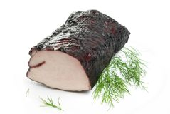 Smoked pork with dill isolated Stock Photo