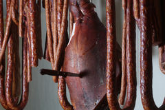Smoked pork leg and sausages Royalty Free Stock Photos