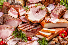 Smoked pork meat products Stock Photos