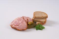 Smoked pork neck with bread Royalty Free Stock Photos