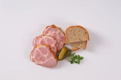 Smoked pork neck with bread Royalty Free Stock Photography
