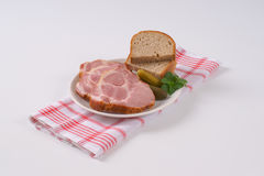 Smoked pork neck with bread Royalty Free Stock Images