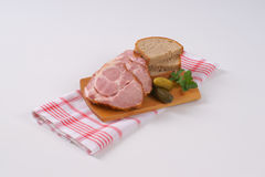 Smoked pork neck with bread Stock Photography