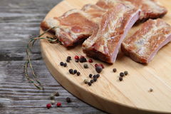Smoked pork ribs Stock Images