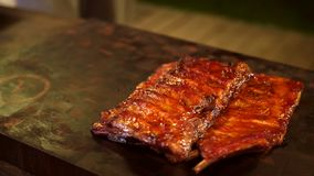 Smoked pork ribs. royalty free stock photography