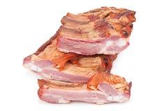 Smoked pork ribs on white Stock Image