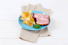 Smoked pork with toasts Stock Photography