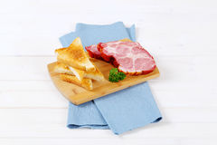 Smoked pork with toasts Stock Photo