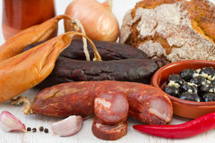 Smoked products with corn bread Stock Image