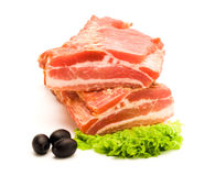 Smoked raw bacon Stock Photos