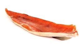 Smoked red fish fillet over white Stock Photo