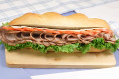 Smoked roast beef sandwich. American style  flavored roast beef  sandwich made with prime organic ingredients Stock Photo