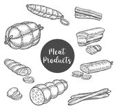 Smoked roulade and beef ham sketches for banner Stock Image