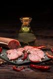 Smoked salami slice Royalty Free Stock Photography