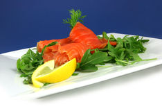 Smoked salmon. On a plate Stock Image