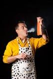 Smoked salmon. Househusband trying to be creative preparing smoked salmon Stock Photo