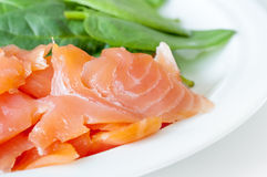 Smoked salmon. Closeup shot of smoked salmon pieces with green spinach leaves on a white plate Stock Photography