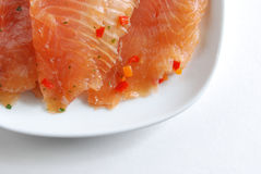 Smoked salmon. On a serving dish Royalty Free Stock Image
