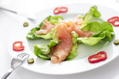 Smoked salmon. And lettuce appetizer stock photo